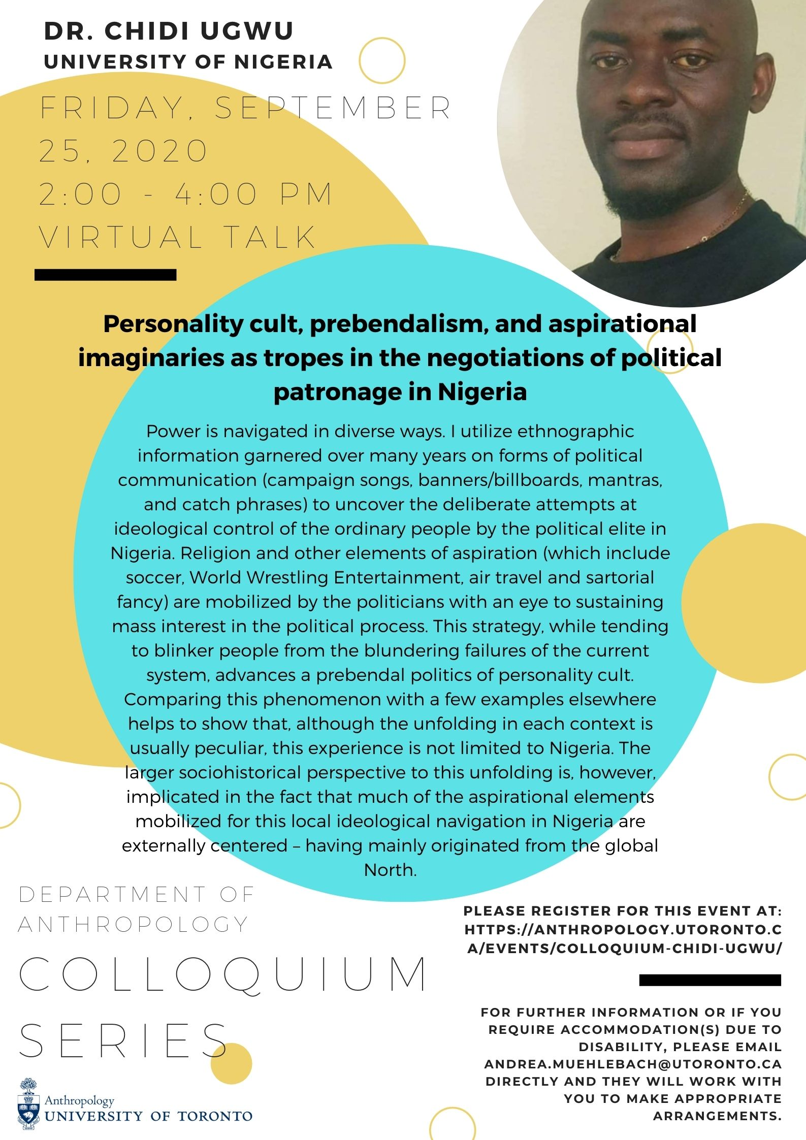 Poster featuring Dr. Chidi Ugwu