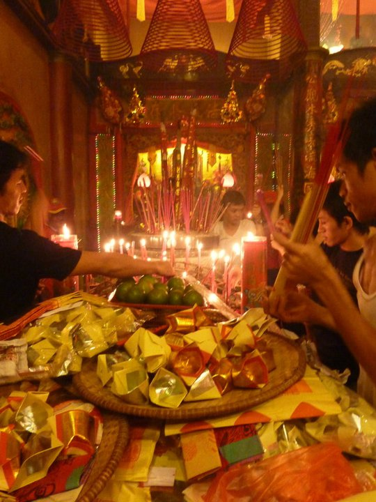 People eating during Chinese New Year in Indonesia
