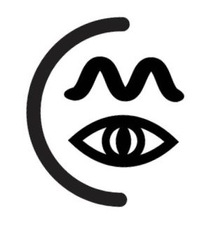 """Medusa Logo, featuring a half-circle enclosing an eye, above which is a writhing snake in the shape of an """"m"""""""