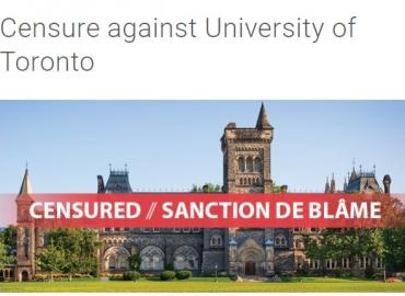 """University College at the University of Toronto, with a text overlay stating """"Censured / Sanction de Blame"""""""